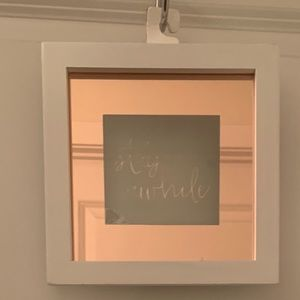 "Wood Mirror Frame Hanging Decor- Stay Awhile 8""x8"""